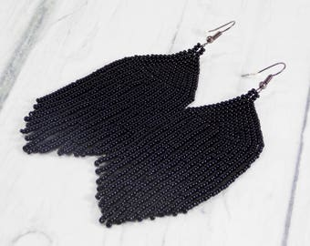 Long black earrings with tassel Halloween earrings Gothic earrings black tassel earrings for women bohemian trendy earrings for girlfriend