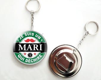 Keychain bottle opener beer - 56mm - husband