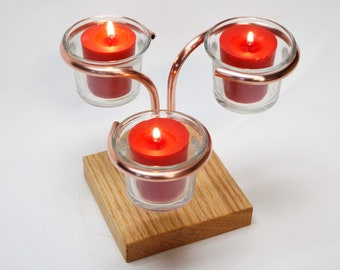 Table Top Triple Votive / Tealight Candle Holder with a Square Oak Base