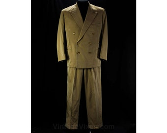 1940s Men's Sharkskin Suit - Medium - Chest 43 - Authentic 40s Light Brown & Silver Wool Gabardine - Double Breasted - Peak Lapel - 45910