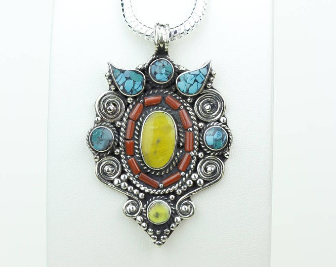 All Handmade! Honey Amber Turquoise Coral Native Tribal Ethnic Vintage Nepal Tibetan Jewelry OXIDIZED Silver Pendant + Chain P3955
