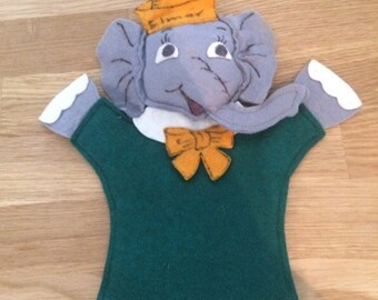 Elmer the Safety Elephant Felt Hand Puppet Kitsch Handmade