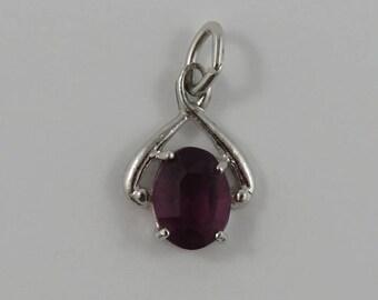 Purple February Birthstone Sterling Silver Vintage Charm For Bracelet