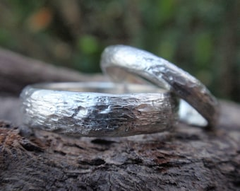 twig wedding rings for men and women his and hers handmade wedding band set of 2 - 5mm & 3mm country wedding - made to order - men and women