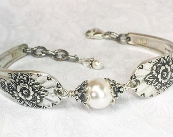 Silver Spoon Bracelet, White Pearls, Silverware Jewelry, Jubilee 1953