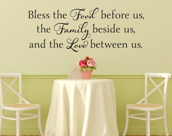 Bless The Food Before Us Wall Decal   Dining Room Vinyl Lettering   Kitchen  Wall Decal   Prayer Wall Decal