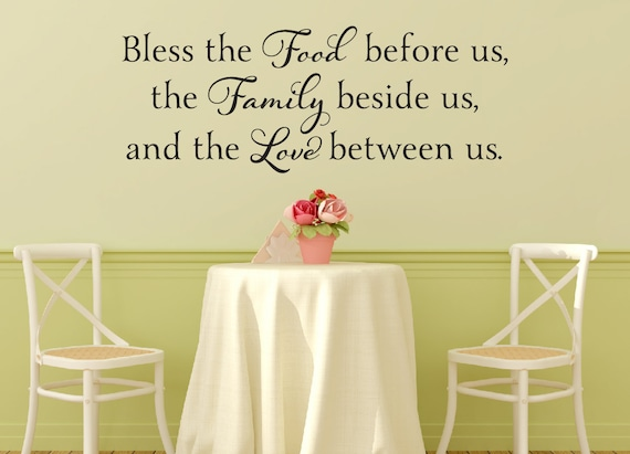 Bless The Food Before Us Wall Decal Dining Room Vinyl