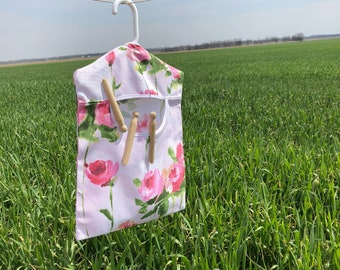 Roses! Roses! Roses! Clothespin Holder, Laundry Room Accessory, Wash Room Clothespin Bag