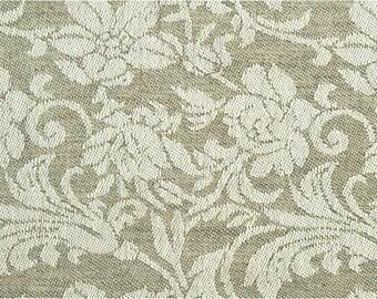 Grey Linen Fabric | Cotton Linen Blend Fabric | By The Yard | Fabric | With Flowers | Linen Cotton Fabric | Cotton Blend Fabric | Natural