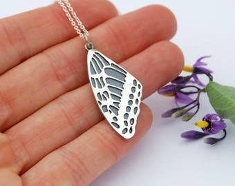 Swallowtail wing sterling silver butterfly pendant necklace