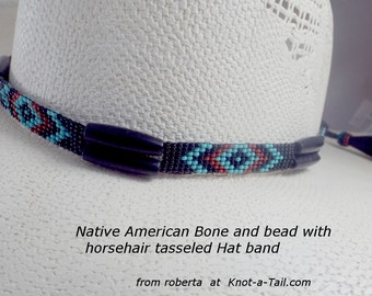 Beaded hat band, hat band, horsehair,  seed bead hat band, Western hat band, Cowboy hat band, Cowgirl hat band, Native American inspired