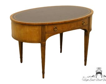 """BAKER FURNITURE Oval Tooled Leather Topped 48"""" Writing Desk 3818 2613"""