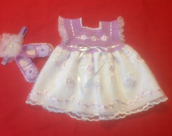Baby Girl Dress Set - Lilac and White