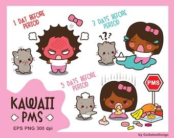 Kawaii girl clipart, PMS clipart, period clipart, african american girl clipart, cute girl clip art, kawaii cat clipart