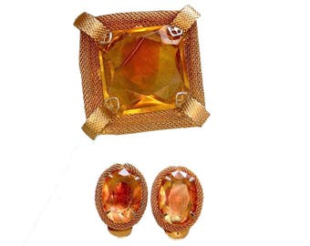 Costume Jewellery Amber Colored Pin and Earring Set - Vintage Jewelry - Amber Colored Pin and Pendant