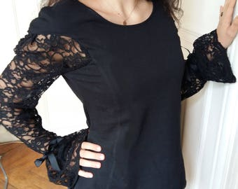 Sweater with sleeves gathered Black Lace