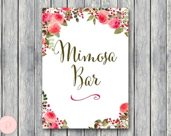 Mimosa Bar Sign, Bubbly Bar Sign, Wedding Bar Sign, Printable Sign, Wedding Decoration Sign, Bridal Shower Decoration, Engagement TH60