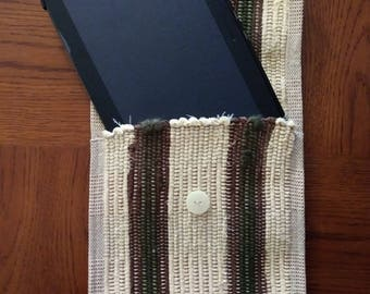 Yellow with Brown and Green Fuzzy Yarn Stripes Tablet Case