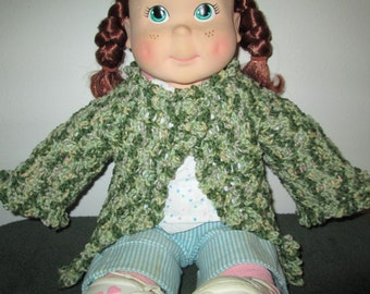 Green Baby Girl Sweater Crocheted by SuzannesStitches, Baby Girl Crochet Sweater, Crochet Baby Sweater, Baby Girl Sweater, Green Sweater