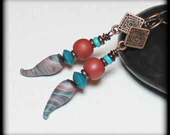 Arizona... Handmade Beaded Jewelry Earrings Polymer Clay Marbled Brown Terra Cotta Burnt Sienna Turquoise Antique Copper Lightweight