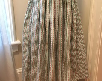 Vintage Laura Ashley Skirt- 1980's Long Floral Pillow Ticking