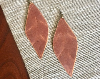 Dark Brown Leather Earring