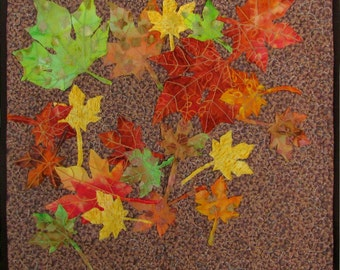 Small Quilt Art Wall Hanging Autumn Leaves Applique Limited Edition