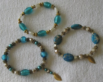 Beaded Bracelets in Turquoise Glass and Antiqued Gold