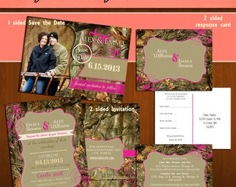 INSTANT DOWNLOAD Mossy Oak Inspired Camo Camouflage 5x7 Wedding Invitation & Response Card/Postcard Templates FULL Set