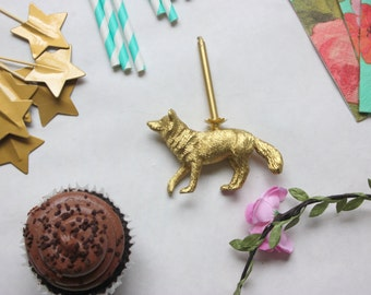 Gold Fox Birthday Candle Holder