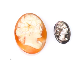 2 Vintage Carved Shell Cameo Cabs