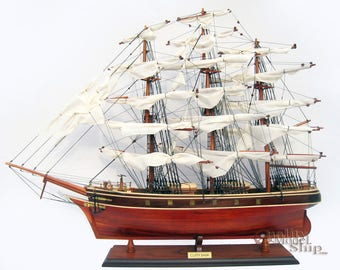 "Cutty Sark Clipper Ship Full Assembled 35"" Wooden Ship Model"