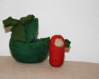 Steiner Waldorf - inspired Hand-felted holly berry fairy and holly 'seed pod'