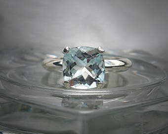 Genuine Aquamarine 8mm Cushion Cut Sterling Silver Solitaire Ring SIZE 7