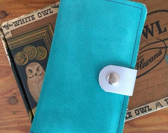 Leather Device Case/phone wallet turquoise suede