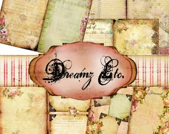 """Digital Planner Kit """"Vintage Love Story"""" Kit - Paper Pack 1 (Daily), Great for Scrapbooking, Journals, and Mixed Media Projects"""