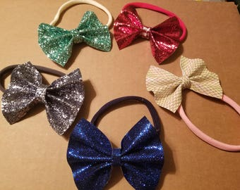 4 inch Sparkly Faux Leather Hair Bows