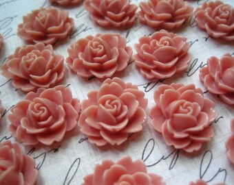 Resin Cabochon / 6 to 20 pcs Dusty Rose Resin Flowers / Rose Cabochons 18mm x 16mm
