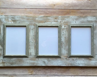 multiple picture frames wood. Barn Wood Frame - Multi-Opening Reclaimed With White Wash Finish And Gray Beaded Trim Multiple Picture Frames