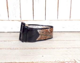 90s vintage wide animal print leather plastic see through belt/black/brown leopard lace print belt/patent leather belt
