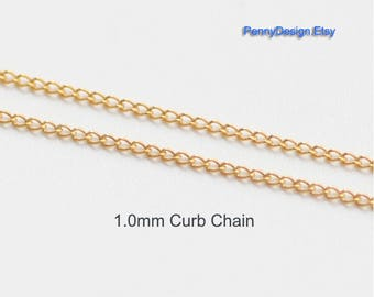 14K Gold filled 1.0mm Curb chain by foot  (5ft 20ft 100ft) - USA made footage chain - (1102)