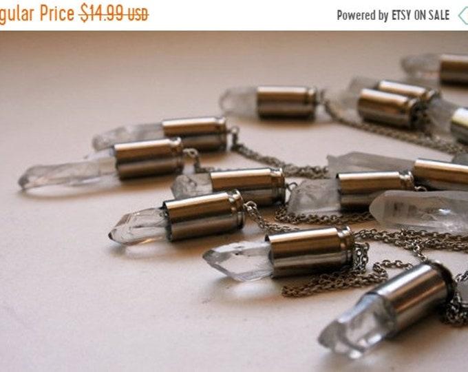SUMMER CLEARANCE Clear Rock Quartz 45 Auto Bullet Crystal Necklace // Rough Clear White Quartz 45 Caliber Bullet Shell Necklace