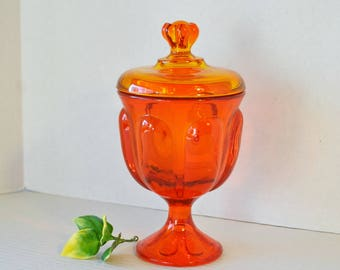 Vintage Viking Glass Epic Amberina Persimmon 6 Petal Covered Pedestal Compote, Orange Yellow Glass Candy Nut Dish with Lid
