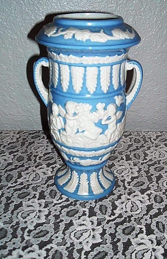 Vintage Japanese Wedgwood Style Blue White Urn Vase Cherubs