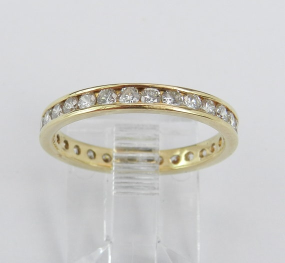 Diamond Eternity Wedding Ring Anniversary Band Stackable 18K Yellow Gold Size 6