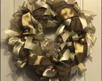 Christmas Ribbon Wreath Christmas Decoration gold cream door wreath door decoration