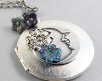Let It Be,Moon Necklace,Moon Locket,Moon Jewelry,Blue Necklace,Blue Jewelry,Patina Necklace,Verdigris,Blue Flower,Green,Valleygirldesigns
