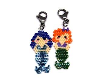 Mermaid Charm, Brick Stitch Beading (1 Charm   Orange or Purple Hair)
