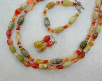 AUTUMN Splendor, 3-pc.set, Carved Jade & Carnelian Beads,  2-Strand Necklace, Matching Bracelet and Earrings, Set by SandraDesigns
