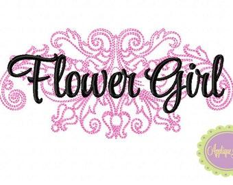Flower Girl Damask Machine Embroidery Design